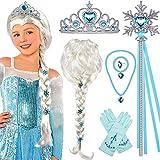 Tacobear Princesa Frozen Disfraz Accesorios Elsa Peluca Trenza Princesa Collar Corona Guantes Mágica Pulsera Princesa Elsa Joyas para Niñas Carnaval Halloween