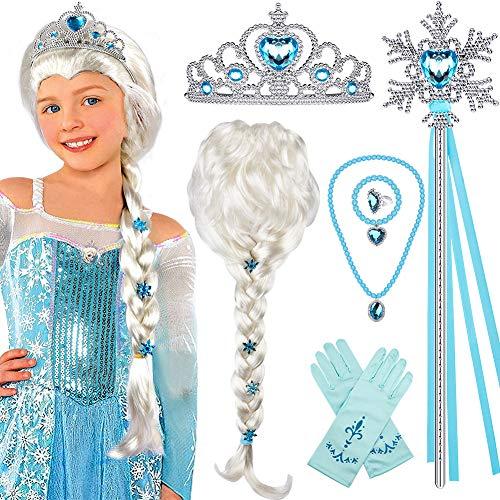 Tacobear Prinzessin ELSA Kostüm Zubehör Set ELSA Perücke Zopf Prinzessin Krone Zauberstab Handschuhe Halskette Armband Prinzessin Frozen Schmuck für Kinder Mädchen Karneval Halloween