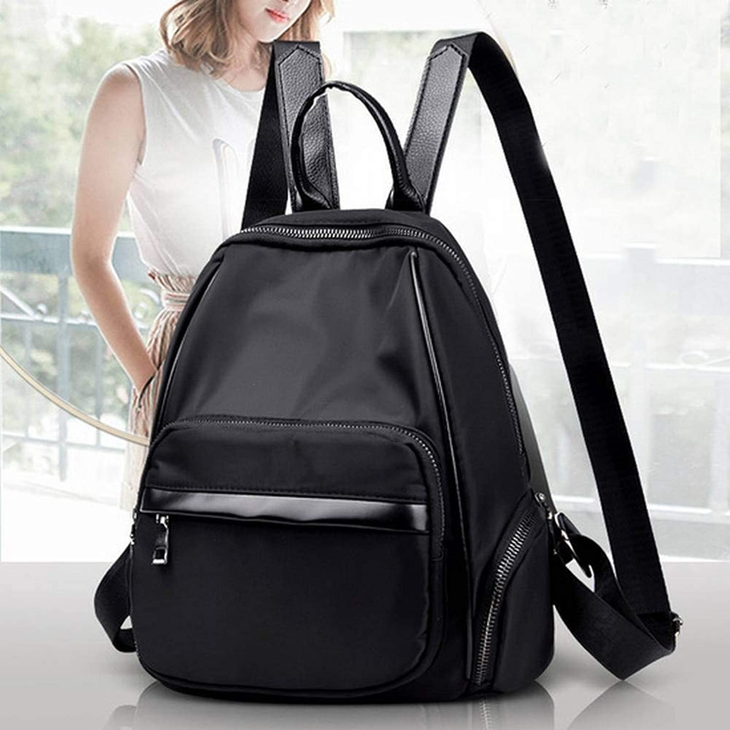 Creative Fashion Multifunctional Oxford Shoulder Bag Personality Casual Bag All Match School Bag for Women, Black