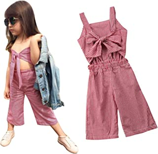Toddler Baby Girl Summer Clothes Overalls Backless Jeans Denim Suspenders Outfit Bell-Bottom Blue Pants