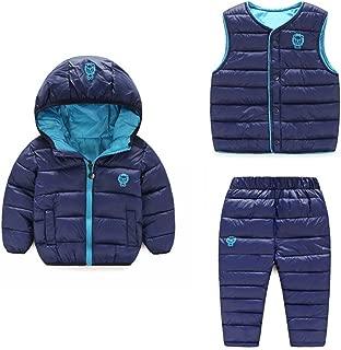 LOSORN ZPY Baby Boy Girl Winter Puffer Snowsuit Down Hooded Jacket+Vest+Ski Pants Set