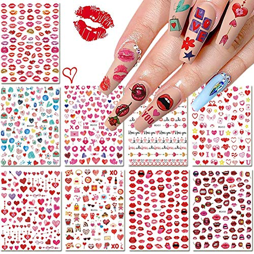 9 Sheets Valentine's Day Nail Art Stickers 3D Self-Adhesive Nails Art Designs Lips Heart Letters Love Kiss Rose Pattern Nail Decals for Women Girls Manicure Decorations Sexy Acrylic Nails Supplies