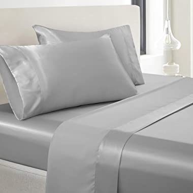 Vonty Satin Sheets King Size Silky Soft Satin Bed Sheets Silver Grey Satin Sheet Set, 1 Deep Pocket Fitted Sheet + 1 Flat Sheet + 2 Pillowcases
