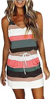 Striped Dresses Sleeveless Women's Summer Casual V Neck Bohemian Dress with Drawstring Pockets Elegant Short Dress Beach C...