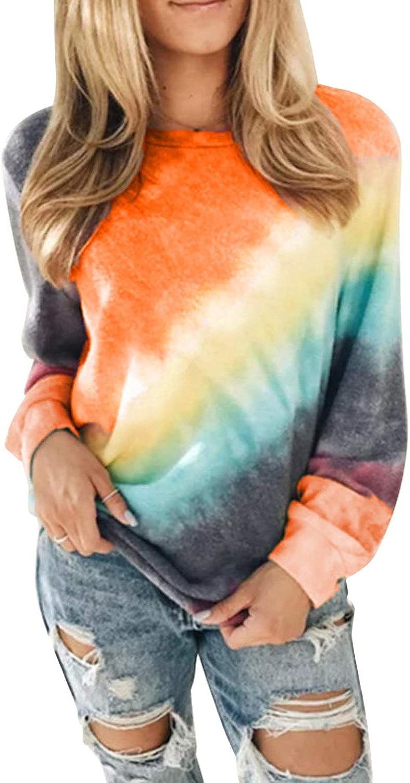 FIYOTE Women Casual Tie Dye Sweatshirts Long Sleeve Lightweight Pullover Tops