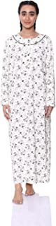 Kady Floral Pattern Chest Buttons Long Sleeves Round Neck Maxi Nightgown for Women