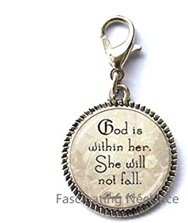Fashion Zipper Pull,God is Within Her She Will Not Fall Psalm 46 5 Scripture Charming Zipper Pull Bible Verse Zipper Pull for Strong Woman or Mother Daughter Zipper Pull,AE0025