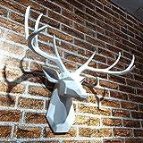 NMBC Testa di Cervo Design Statua Moderno Statue Decorative Animale Scultura Arte Parete Figurine Resina Artigianato Crafting Artigianato Scultura per L'Ufficio dei bambini-70CM Bianca