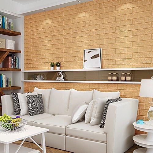 KINLO Brauen 3D Ziegel Tapete, Wandpaneele Stereo Wandtattoo Papier Abnehmbare selbstklebend Tapete für Schlafzimmer Wohnzimmer moderne Hintergrund TV-Decor (70 x 77cm)/pcs x 15pcs