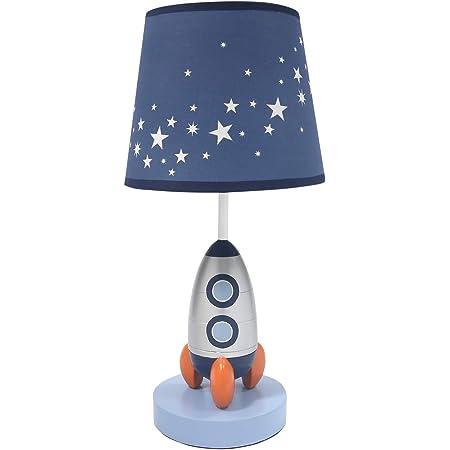 Lambs & Ivy Milky Way Blue/Silver Rocket Ship Nursery Lamp with Shade & Bulb