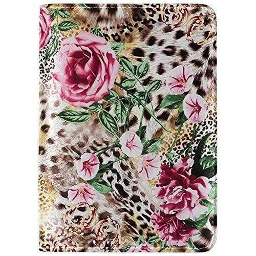 Gestreifter Leopardenblüten-Leder-Passhalter-Schutzhülle Fall Reise eine Tasche