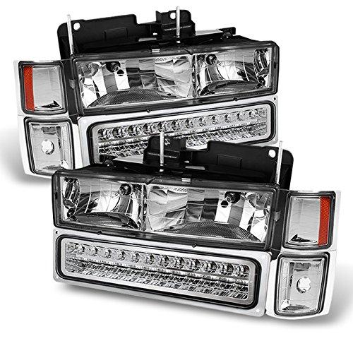 For Chevy C/K Series Silverado Suburban Tahoe Pickup Truck Chrome Housing Headlight + LED Bumper + Corner Light Set