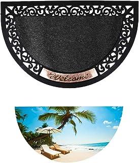 Beach Themed Doormat Half Round Door Mat for Front Door Non-Slip Welcome Entrance Way Rug Indoor Decorative Floor Mat Low-...