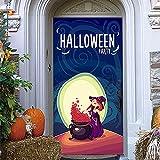 LBMT Halloween 3D dibujos animados bruja pegatinas pegatinas de pared DIY pegatinas de pared pared DIY PVC impermeable papel pintado L (45 x 200 cmx2 unidades)