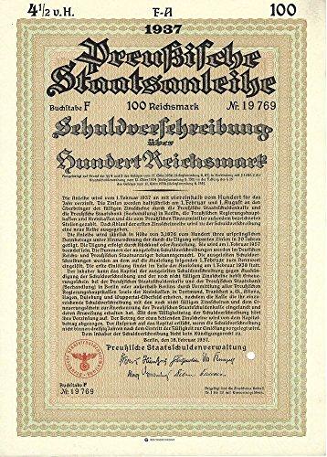 1937 DE RARE ORIGINAL 100 MARK NAZI BOND w SWASTIKA! BUY 2 GET 500 MARK, BUY 3 GET 1000 MARK, BUY 4 GET 10,0000 MARK! Please Read Deal! 100 Marks (Optional 500, 1000 and 10,000) Crisp Uncirculated