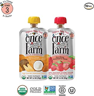 Once Upon a Farm Organic Stage 3 | Baby Food Pouch | Cold Pressed | Refrigerated | For 9 Months & Up | Variety Pack of 16