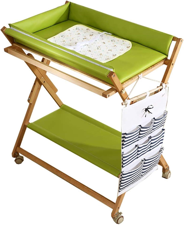 Wickeltisch Portable Baby Wickeltisch, multifunktionale Faltbare Massivholz Baby Care Tabelle, Cross Leg Style, grün (gre   Style2)