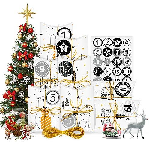 Adventskalender zum Befüllen, Weihnachtskalender Box, Klein Geschenkschachtel Weihnachten Geschenkbox Kraftpapier 24STK, DIY Bastel 14x9x3.5cm mit Zahlenaufklebern