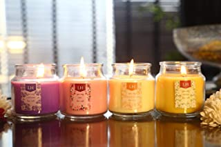 Set of 4 Richly Scented Candles in Breathtaking Range of Aromas | Vanilla Caramel, Midnight Jasmine, English Rose & Lavender Fields | Candles for Bedroom | Candles for Decoration