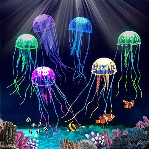 BETOY Künstliche Quallen, 6 Stück Leuchtende Quallen Silikon Aquarium Quallen Simulation Aquarium Dekoration Künstliche Quallen Geeignet für Aquariumdekorationen, Gelb, Grün, Orange, Pink, Blau, Lila