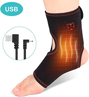 Heating Ankle Brace, Heated Ankle Wrap Foot Heat Therapy with 3 Level Temperature and 4 Feet USB Cable, Pain Relief for Chronic Ankle, Arthritis, Tendonitis