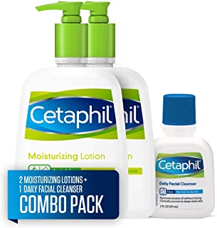 Cetaphil Moisturizing Lotion for All Skin Types, Body and Face Lotion, Two 16 Fl Oz Bottles, plus 2-oz. Cetaphil Daily Fac...