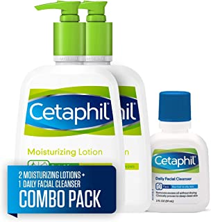 Cetaphil Moisturizing Lotion for All Skin Types, Body and Face Lotion, Two 16 Fl Oz Bottles, plus 2-oz. Cetaphil Daily Facial Cleanser for Normal to Oily Skin (Combo Pack)