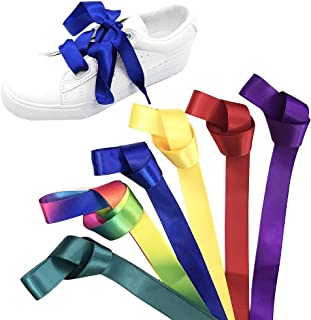 Daimay 6 Pair Silk Ribbon Shoelaces Fashion Sneakers Shoe Laces Flat Shoestring Lace Satin Ribbon for DIY Shoes Decoration 1.2M – Purple/Yellow/Red/Dark Green/Sapphire/Rainbow