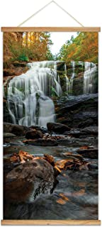 wall26 - Hanging Poster with Wood Frames - Cascading Waterfall in The Mountain - Ready to Hang Decorative Wall Art - 18