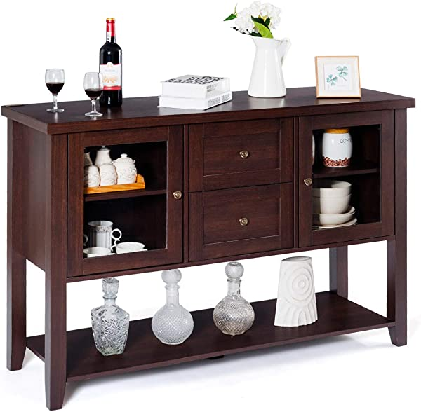 Giantex Buffet Cabinet Sideboard With Two Drawers And Glass Doors Console Table With Bottom Shelf Large Storage Space Dining Room Home Furniture Side Cabinet Brown
