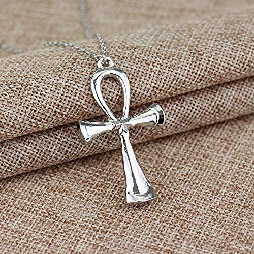 JULYSST Vintage Egyptian Ankh Cross Necklace Silver Symbol of Life Pendant Necklace for Women Men Jewelry