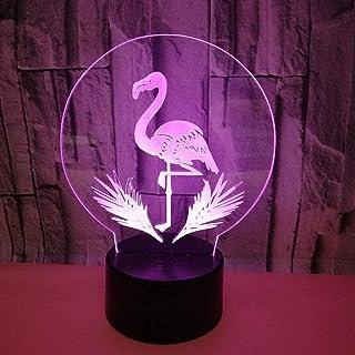 Lampe de Table Flamingo LED lumière dégradé coloré 3D stéréo Tactile télécommande USB veilleuse Table de Chevet Joliment d...