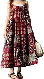 Doufine Women Casual Floral Print Loose Vintage Swing Long Maxi Dress