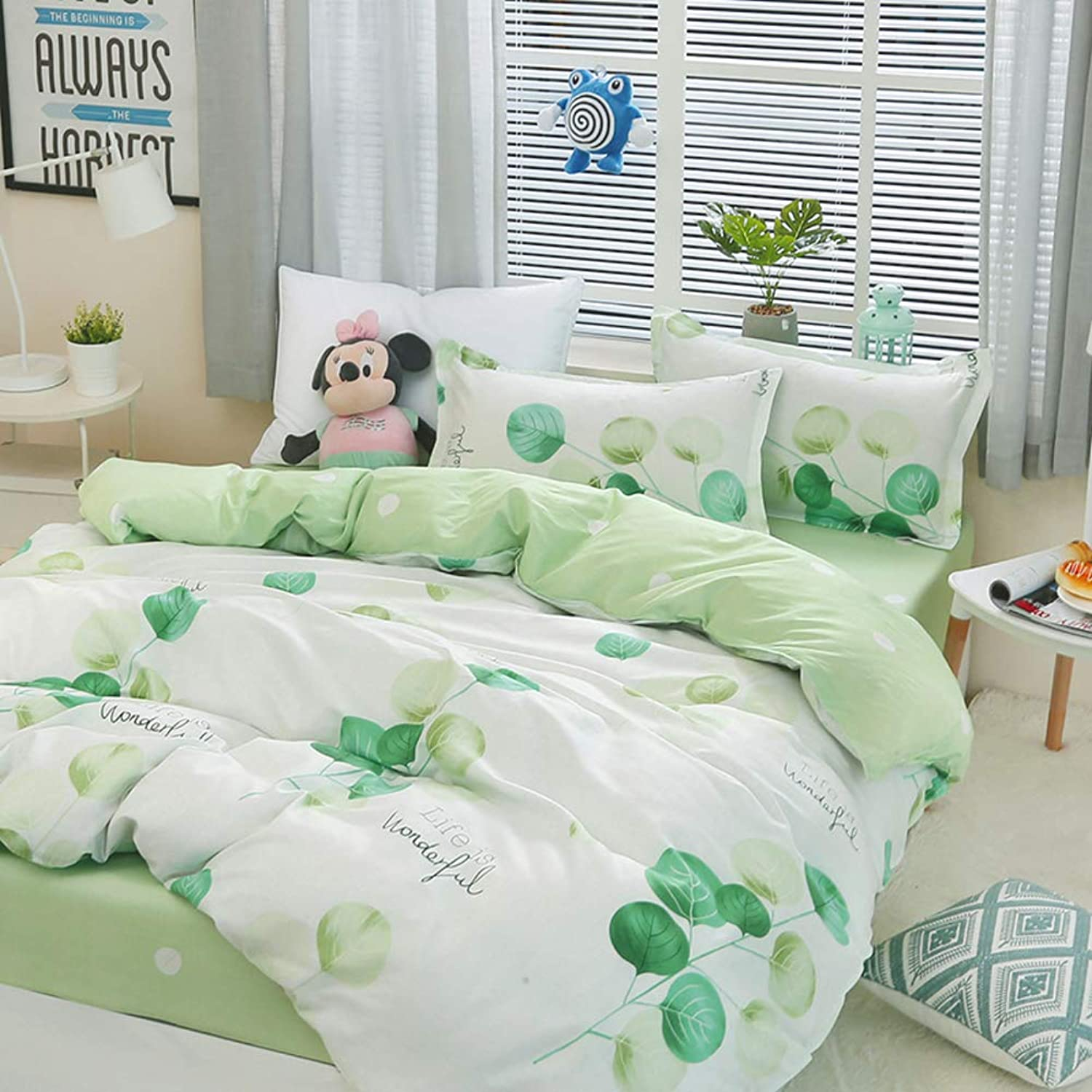 Cotton Duvet Cover Set,Bedding Single Bed Set Three Piece Student Dormitory Single Quilt Cover SheetsU Twin Size