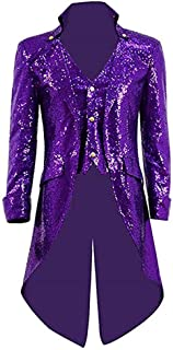 Men's Sequins Tailcoat Jacket Single Breasted Gothic Blazer Tuxedo Coat Halloween Costume