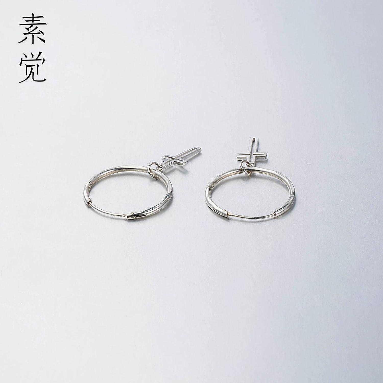 BAGEHAN 925 handgefertigte Silber Kreuz Anhnger Ohrringe Ohrringe Ohrschmuck Geschenk Schmuck Lady Temperament Cross Earring