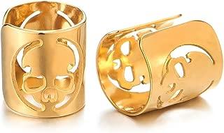 2pcs Mens Womens Gold Color Steel Ear Cuff with Alien Skull Ear Clip Non-Piercing Clip On Earrings