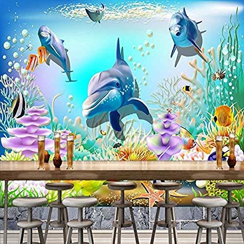 Papel tapiz 3D personalizado HD Underwater World bar Cafe Fondo Mural de pared Niños Casa Papel tapiz mural de dorm papel pintado pared dormitorio de estar sala de estar fondo No tejido-300cm×210cm