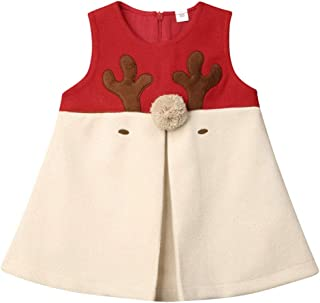 Toddler Baby Girl Christmas Outfit Winter Clothes Wool Antlers Xmas Vest Coat Jacket Gilet Outwear Tops (1-5T)