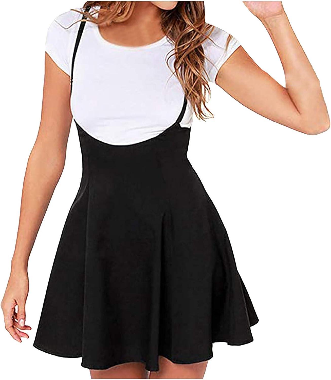 Women's Suspender Braces Casual Skirt Dress Basic High Waist Versatile Flare Skater Shoulder Straps Short Skirt,Dress