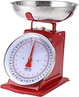 Kitchen Scale White Metal With A Stainless Steel Tray (22-Pound) (RED)