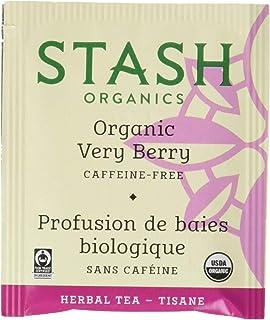 Stash Tea Organic Very Berry Herbal Tea 100 Count Tea Bags in Foil (Packaging May Vary) Individual Herbal Tea Bags for Use...