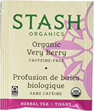 Stash Tea Organic Very Berry Herbal Tea 100 Count Tea Bags in Foil (Packaging May Vary) Individual Herbal Tea Bags for Use in Teapots Mugs or Cups, Brew Hot Tea or Iced Tea