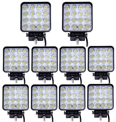 Leetop 10X 48W IP67 Offroad Réflecteur LED Projecteur Phare de Travail Intégrée SUV, ATV/UTV Offroad Phares de Travail 12-24V