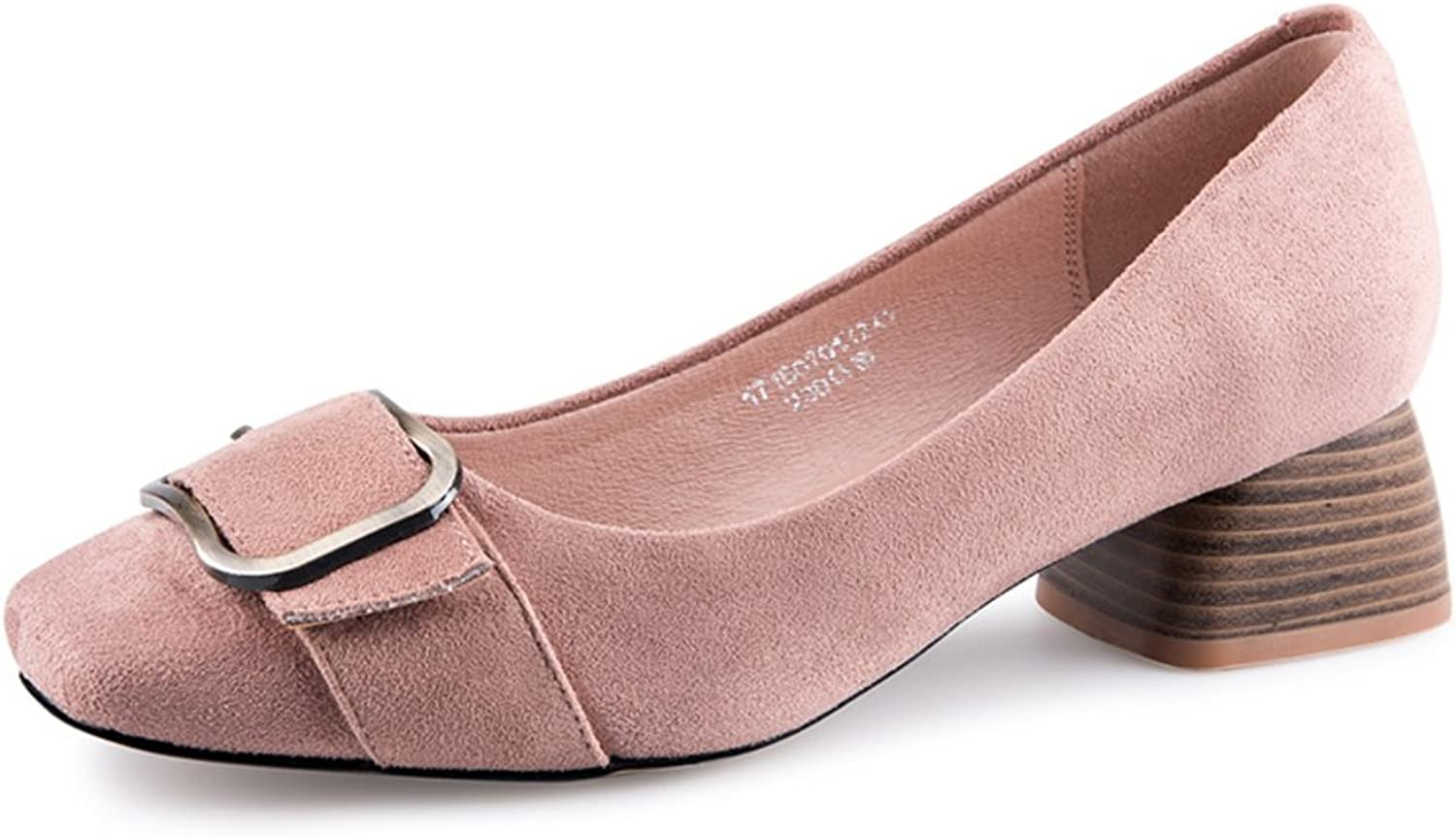 MET RXL Spring and Autumn,Women's Suede shoes Light Sets Foot shoes Rough with,Middle Heel shoes