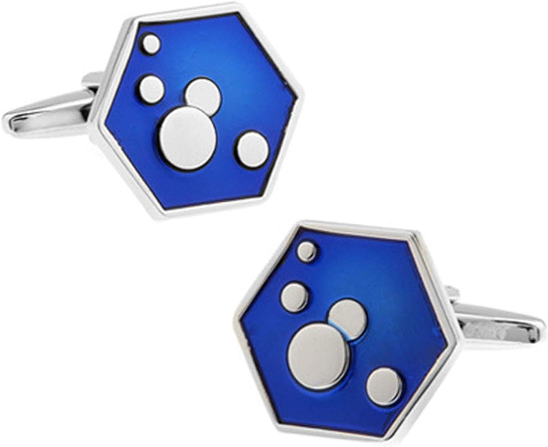 Daesar Cuff Links for Dad Mens Cuff Links and Shirt Studs Hexagonal Round Cufflinks Blue for Men