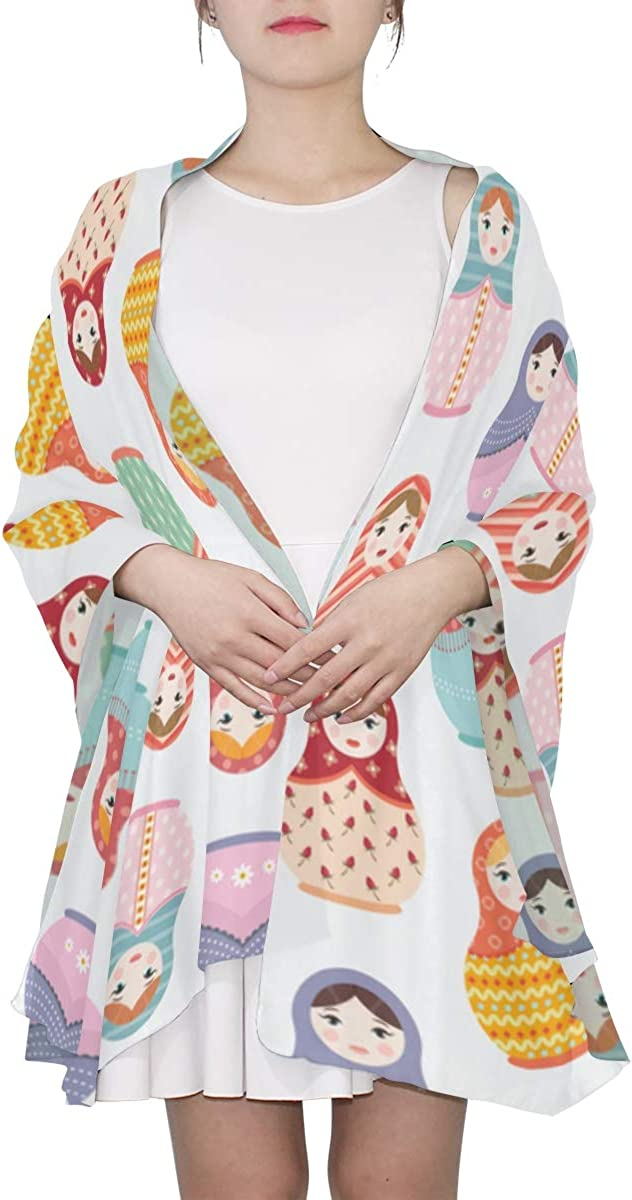Cute Matryoshka Russian Doll Unique Fashion Scarf For Women Lightweight Fashion Fall Winter Print Scarves Shawl Wraps Gifts For Early Spring