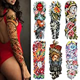 Temporary Tattoos for Women Men Adults Kids boys girls Extra Large Full Arm Hand Waterproof Tattoo Stickers 6 Sheets with Monster Ghost Fish Flower Rose Car Machine Time