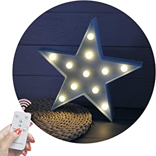 Obrecis Light Up Star Marquee Lights, Fairy Night Lights with Remote Control Marquee Signs Star Lamp for Desk Table, Birthday Gift, Christmas Decorations (RC Blue Star)