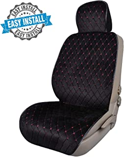 CAR PASS Full Cover Quilting Sideless Universal fit Car Seat Cover,seat Cushion, Easy fit with Vehicle,suvs,sedans,Vans,Install Within Seconds (ONE Piece Package, Black with Red)